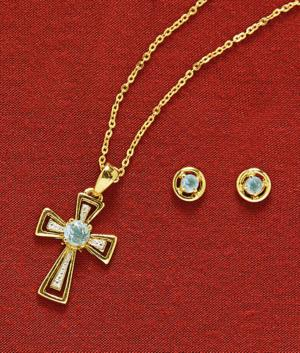 Blue Topaz Cross Pendant and Earrings - The Set