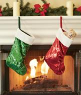 Sequins Christmas Stocking - Red