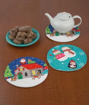 Woven Holiday Trivet - Santa and Reindeer