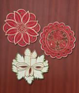 Embroidered Doily - Poinsettia