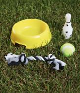 Dog Bowl and Toys - 4-Pc. Set