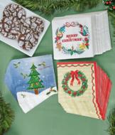 Red and Green Wreath Napkins - Set of 24