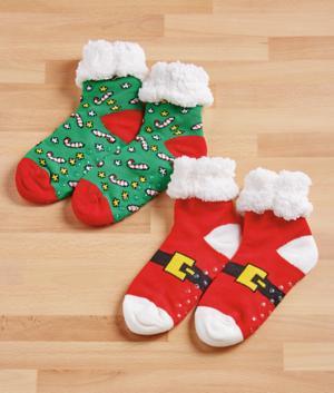 Holiday Slipper Socks - Candy Cane