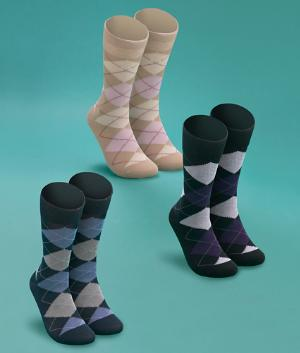 Men's Argyle Dress Socks - 3-Pair Pack