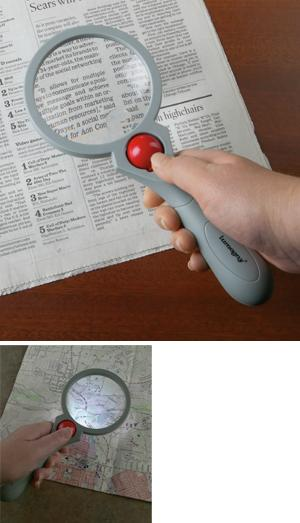 Adjustable-Light Aspheric Magnifier