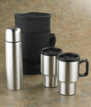 Stainless Steel Travel Mugs - 4-Part Set