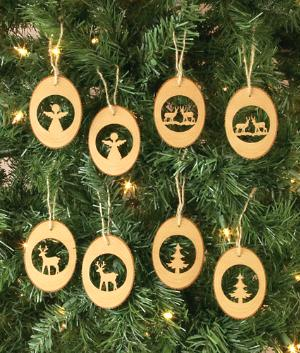 Tree Slice Ornaments - Set of 8