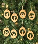 Tree Slice Ornaments - Set of 8