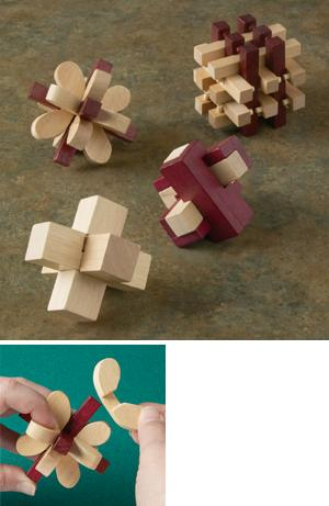 Wooden Brainteasers - Set of 4