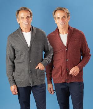 Men's Full-Fit Cardigan - Charcoal