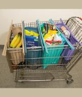 Reusable Grocery Trolley Bags - Set of 4 with Carrier