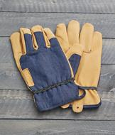 Leather and Denim Gloves - A Pair