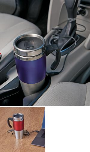 Heated Travel Tumbler - Red/Silvertone