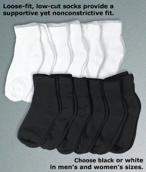Black Loose-Fit Socks - 6 Pairs of Women's Size 9-11