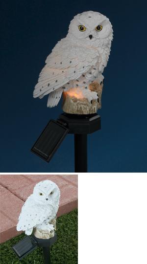 Charming Solar Powered Snowy Owl Garden Stake