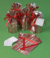 Red Stripe Gift Bags with Gift Cards - 10 Each