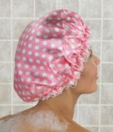 Pink with White Polka-Dot Shower Caps - Set of 2