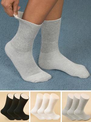 Ladies White Loose-Top Crew Socks - 3-Pack