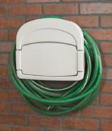 Hose Holder with Storage Compartment