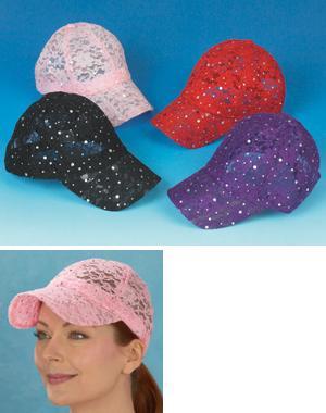 UV Protection Lace Baseball Cap - Pink