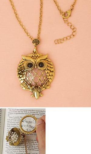Owl 3X Magnifier Necklace