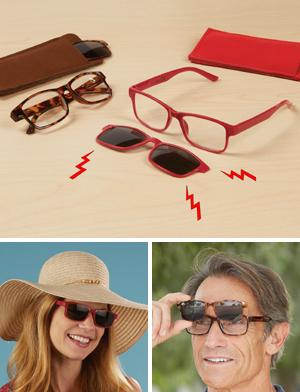 Readers with Polarized Sun Clip - Red +1.5