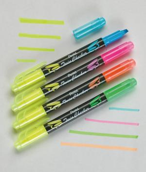 Twin Checker Dual-Tip Highlighters - Set of 4