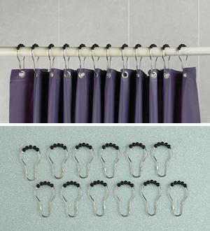 Bead-Top Shower Curtain Hooks - Set of 12