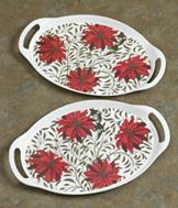 Poinsettia Serving Trays - Set of 2