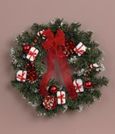 Red and White Accented Christmas Wreath
