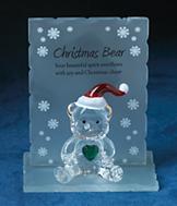 Christmas Bear Glass Plaque