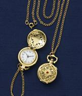 Goldtone Pendant Watch
