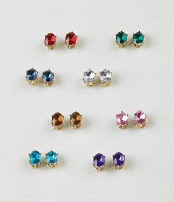 Crystal Earring Collection - 8 Pairs