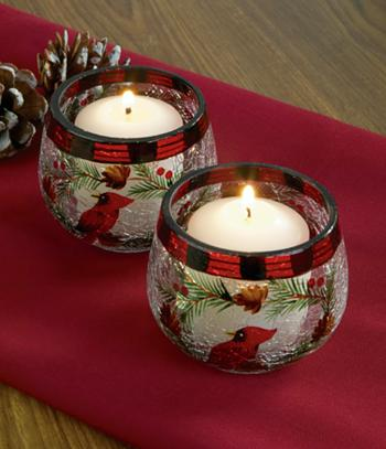 Crackle Glass Cardinal Votive Holders - Set of 2