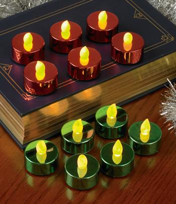Red and Green LED Tealights - Set of 12