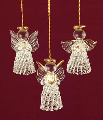 Spun Glass Angel Ornaments - Set of 3