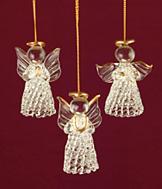 Spun Glass Angel Ornaments - Set of 3