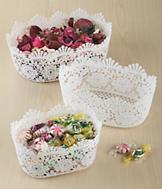 Floral Pattern Lace Basket - Large