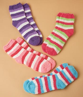 Striped Cozy Socks - 4 Pairs