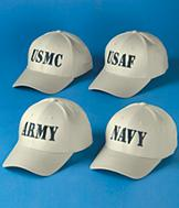 Embroidered Military Ball Cap - Each