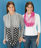 Polka Dots and Stripes Infinity Scarf