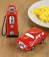 Gas Pump and Car Salt and Pepper Shakers