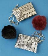 Embossed Coin Purse with Pompom - Each
