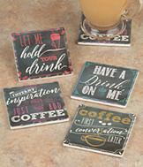 Bistro-Style Message Coasters - Set of 4
