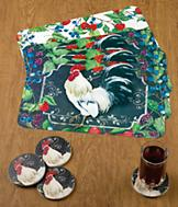 White Rooster Reversible Placemats - Set of 4