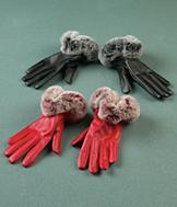 Fur-Look Trimmed Gloves - Red Pair