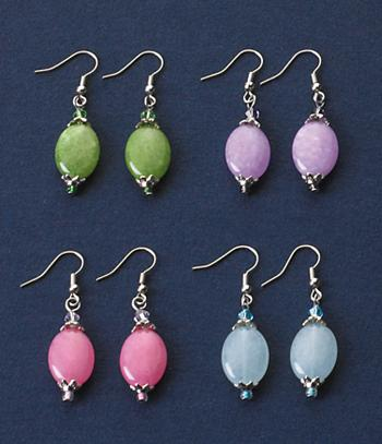 Color-Enhanced Jade Earring Set - 4 Pairs