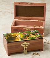 Cat and Butterfly Cedar Box