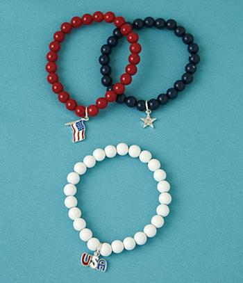 Red, White and Blue Bracelets - Set of 3