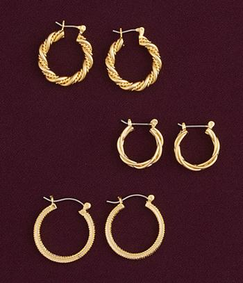 Goldtone Hoop Earrings - 3 Pairs